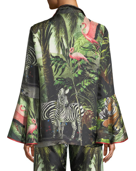 Long-Sleeve Lace-Up Exotic Jungle Print Silk Top