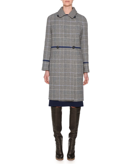 DOUBLE-BREASTED CHECK WOOL CASHMERE PEA COAT