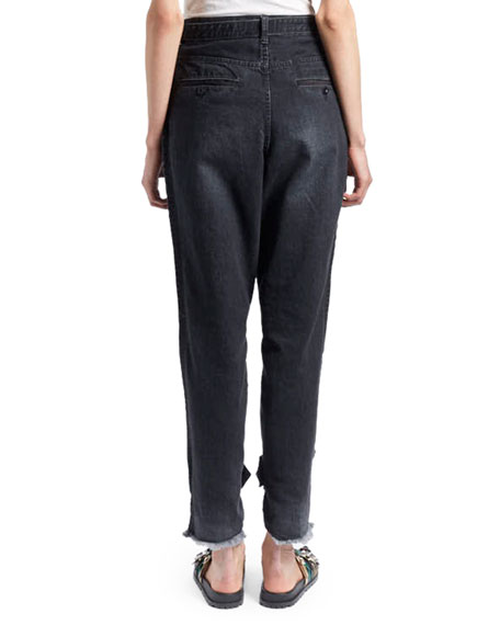 Slouchy Two-Tone Tapered-Leg Jeans w/ Adjustable Belt