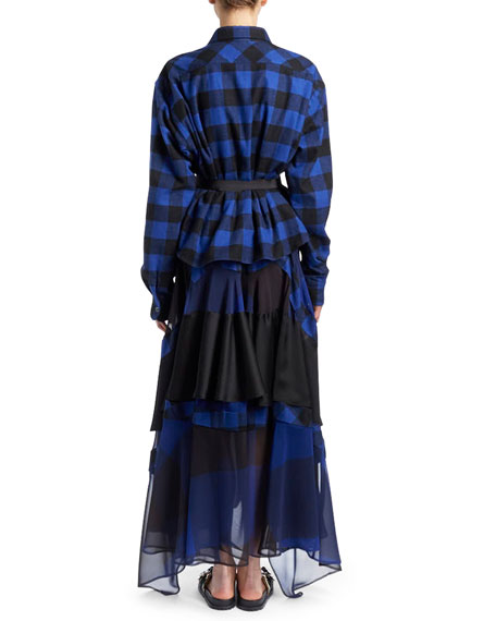 Long-Sleeve Button-Front Belted Check Cotton Shirtdress