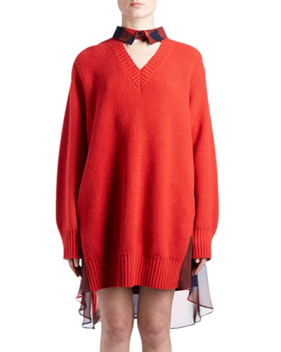 Long-Sleeve V-Neck Wool Knit Sweaterdress with Plaid Combo Back