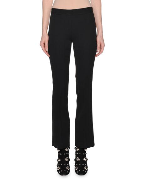 Side-Zip Straight-Leg Crepe Pants