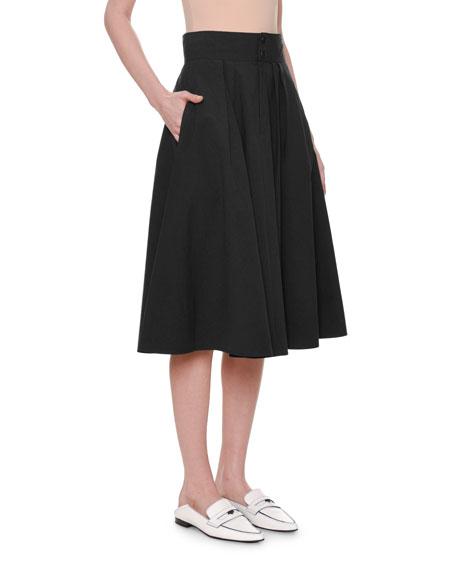 Pleated A-Line Cotton Midi Skirt w/ Pockets