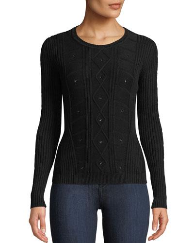 Crewneck Long-Sleeve Cable-Knit Sweater w/ Grommet Trim