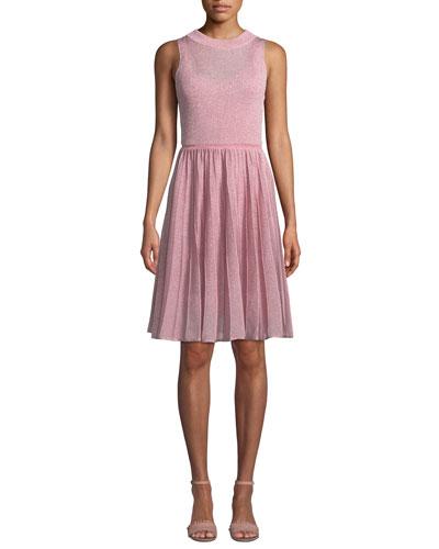 Sleeveless Metallic Knit Fit-and-Flare Mini Dress