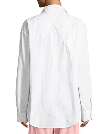 Diamond-Applique Long-Sleeve Button-Down Cotton Shirt
