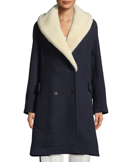 Double-Breasted Wool Swing Coat W/ Shearling Fur, Navy
