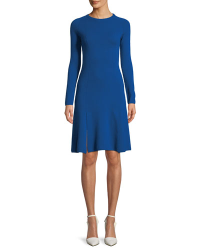 Crewneck Long-Sleeve A-Line Short Knit Dress