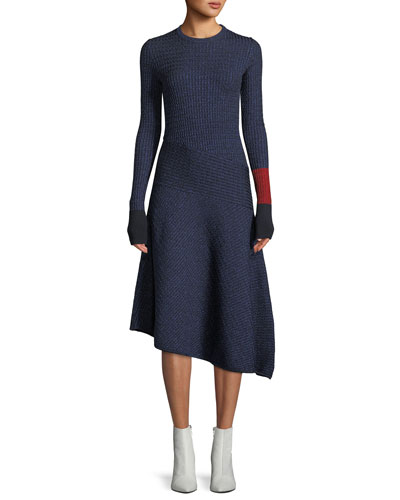 Crewneck Long-Sleeve Fitted Ribbed Asymmetric Midi Dress