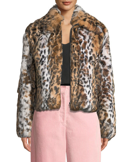 Cedric Charlier Leopard-Print Zip-Front Cropped Jacket