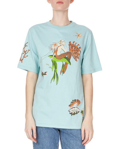 Crewneck Short-Sleeve Mermaid-Print Cotton Tee