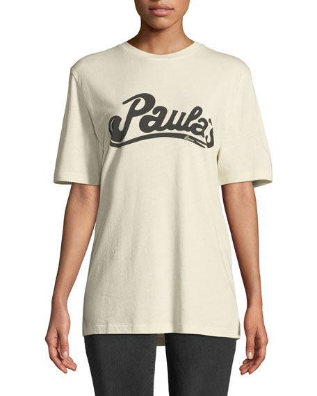 x Paula's Ibiza Logo Crewneck Short-Sleeve Cotton-Silk Tee