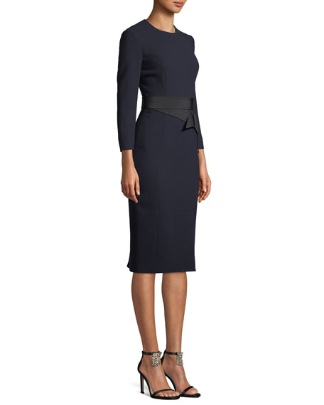 Long-Sleeve Wool Crepe Dress w/ Bow Belt
