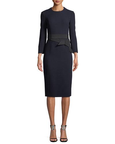 Long-Sleeve Wool Crepe Dress w/ Bow Belt