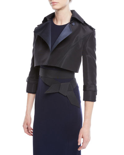 Silk Faille & Satin Duchess Cropped Moto Jacket