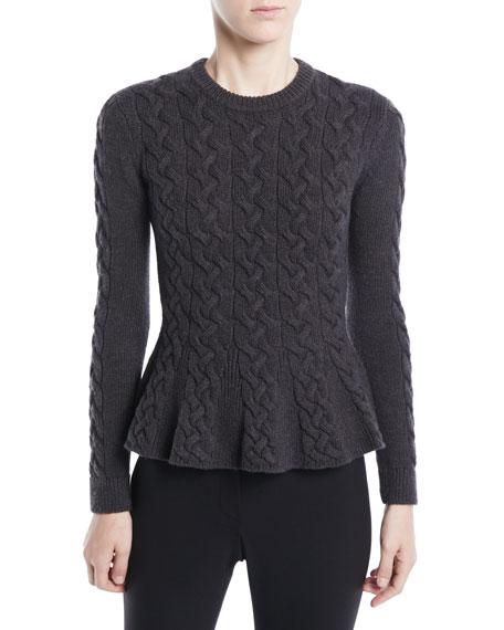 Jason Wu Crewneck Long-Sleeve Peplum Cable-Knit Merino Wool
