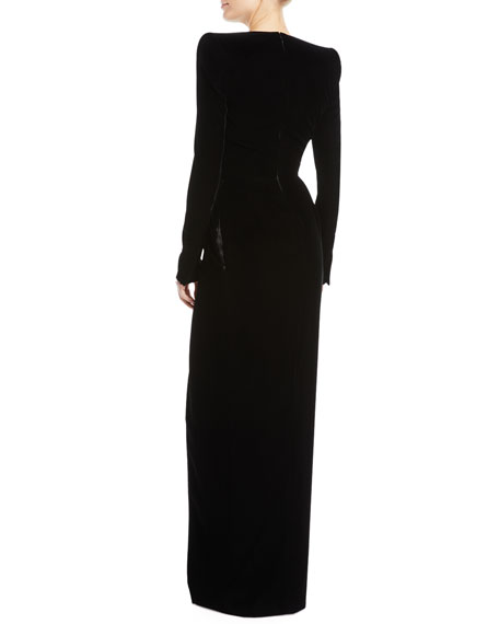 Plunging Long-Sleeve Velvet Wrap Evening Gown