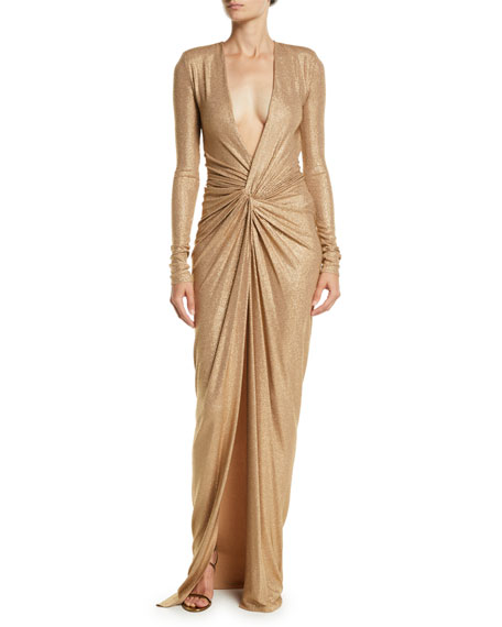 Plunging Long-Sleeve Knot-Front Sparkle-Jersey Evening Gown in Neutrals