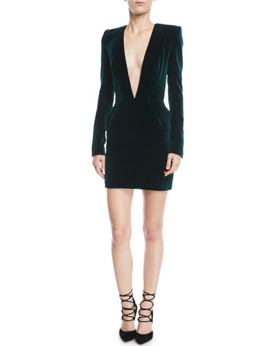 Plunging Long-Sleeve Velvet Cocktail Dress