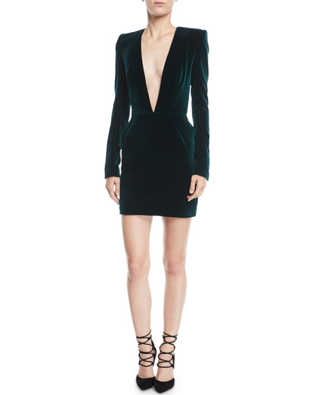 afbe11d05f Alexandre Vauthier Plunging Long-Sleeve Velvet Cocktail Dress