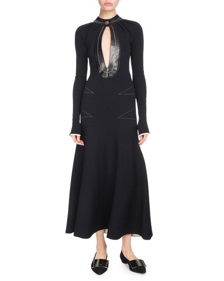 Proenza Schouler Keyhole-Front Long-Sleeve A-Line Dress w/