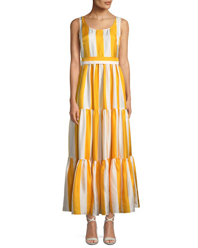 Scoop-Neck Sleeveless Striped Silk Maxi Dress