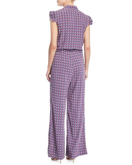 Sleeveless Button-Front Belted Wallpaper-Print Wide-Leg Jumpsuit