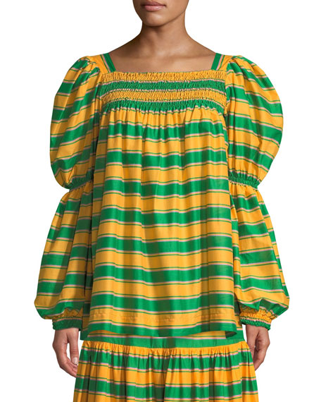 Square-Neck Striped Cropped Peasant Top