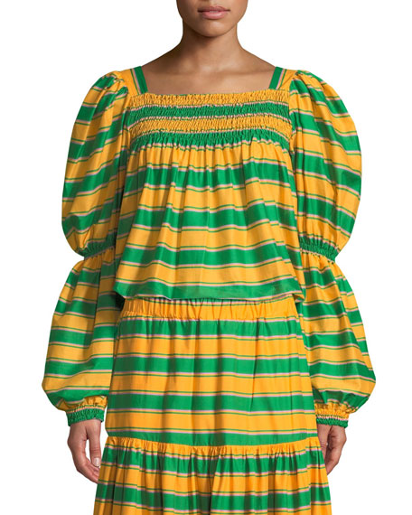 Double J Square-Neck Striped Cropped Peasant Top