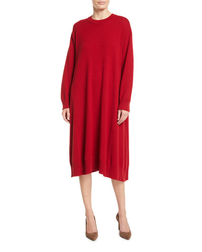 Round-Neck Long-Sleeve A-Line Cashmere Dress