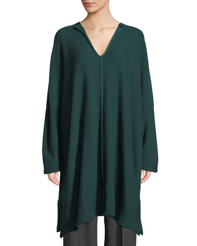 Slit-Neck Long-Sleeve Tunic Sweater w/ Slits