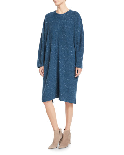 Round-Neck Long-Sleeve Melange Dress