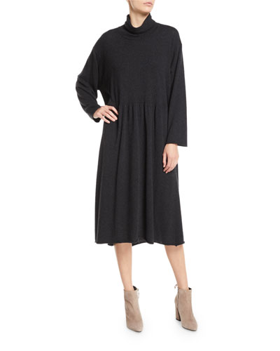 Scrunch-Neck Long-Sleeve A-line Cashmere Dress