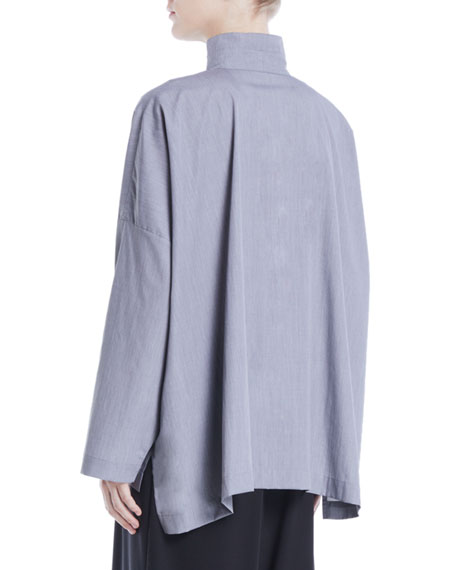 Longer Back Double Stand-Collar Button-Front Cotton Shirt