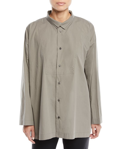 Long-Sleeve Two-Collar Slim A-Line Shirt