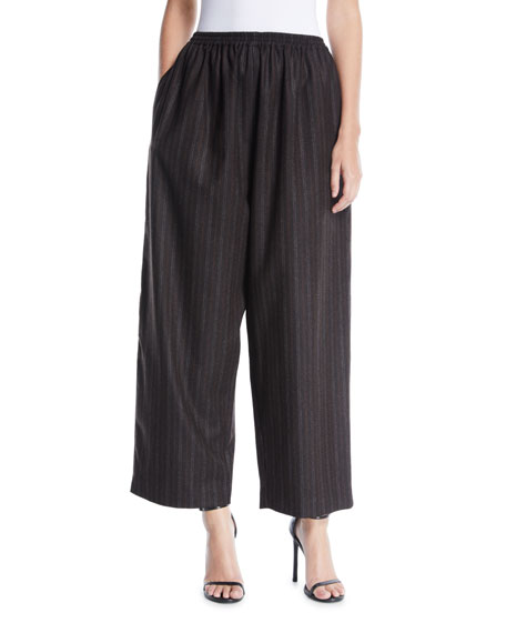 Eskandar Striped Wide-Leg Cashmere Trousers w/ Ankle Slit