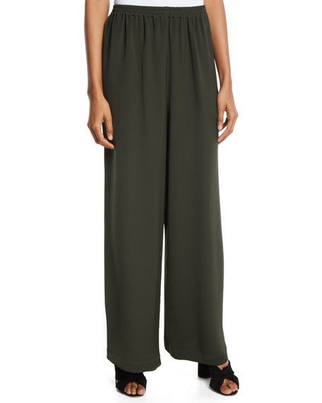 ESKANDAR WIDE-LEG SILK TROUSERS