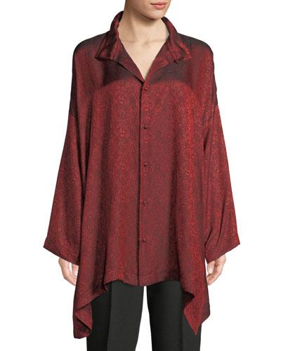 Wide A-Line Button-front Long-Sleeve Damask Silk-Blend Shirt