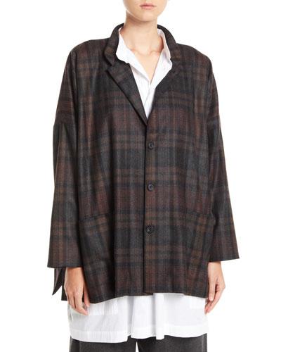 Wide Mandarin-Collar Plaid Wool-Angora Jacket