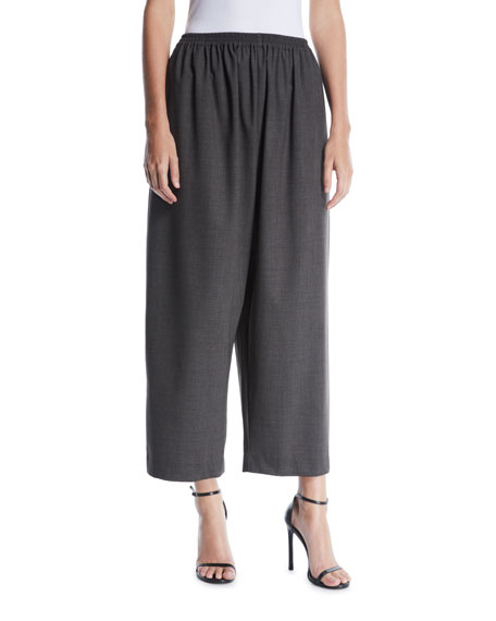 ESKANDAR WIDE-LEG PULL-ON WOOL TROUSERS