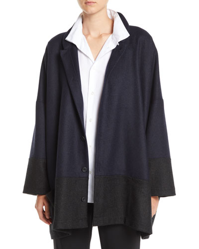 Mandarin-Collar Three-Button Wool-Blend Jacket w/ Pouch Pockets