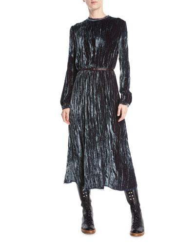 Dina Long-Sleeve Crushed Velvet Long Dress