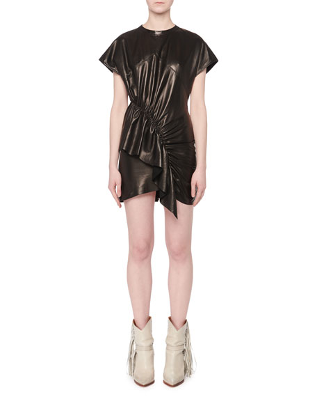 Asymmetric-Front Short-Sleeve Lamb Leather Mini Dress