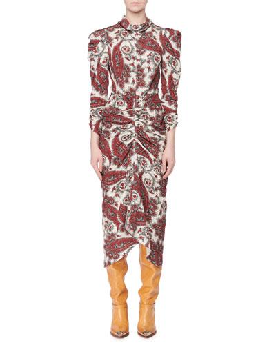 Strong-Shoulder Paisley-Print Ruched Midi Dress
