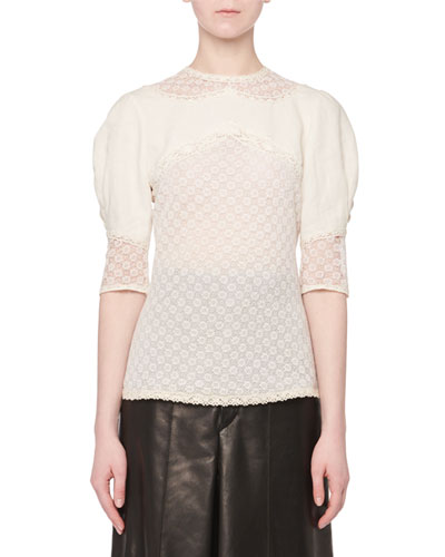 Volume-Sleeve Linen Lace Top