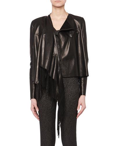 Asymmetric Fringe Lamb Leather Jacket