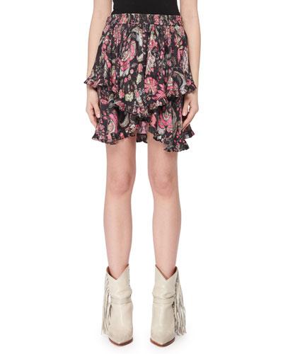 Asymmetric-Tiered Printed Mini Skirt