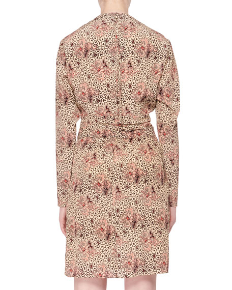 Long-Sleeve Printed Silk Asymmetric Mini Dress