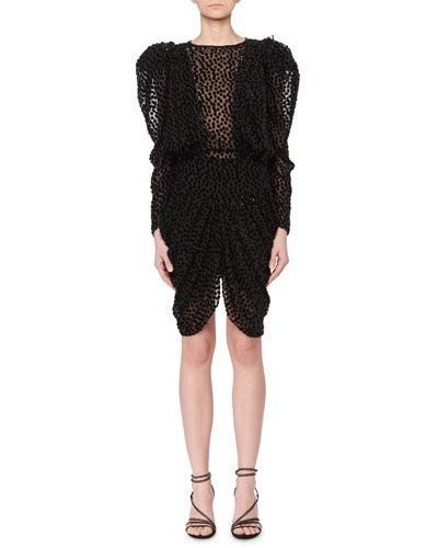 Puff-Shoulders Dotted Velvet Devore Mini Dress