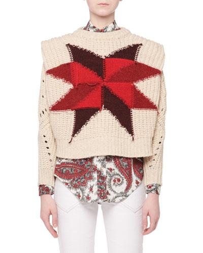 Nordic Crewneck Star Intarsia Boxy Wool-Mohair Sweater